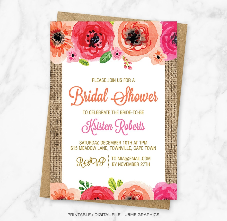 Bridal Shower Invitations Cape Town - U&Me Graphics Shop | Digital ...
